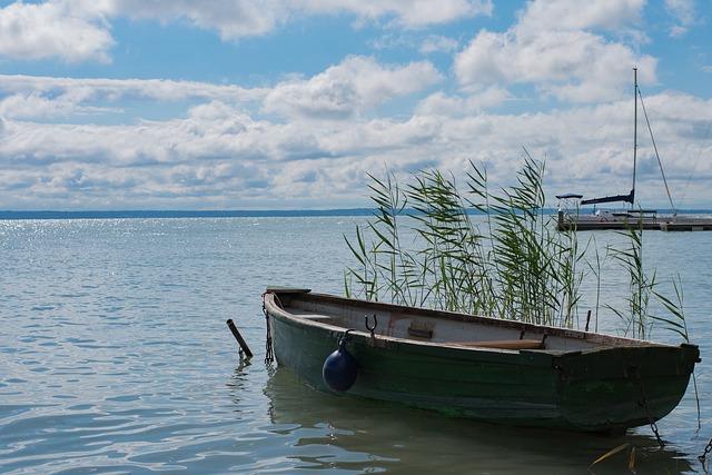 Balatoni leveles csónak a nádas mellett